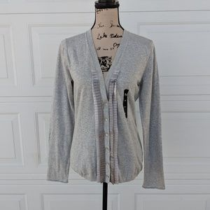 Banana Republic Gray Button Sweater Pleated Ruffle